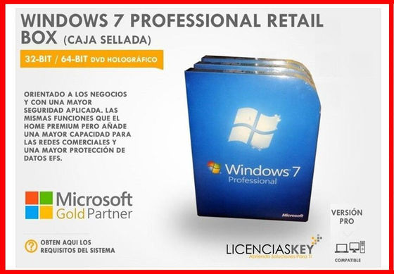 100% Original OEM Windows 7 Professional Retail Box 16 GB Available Disk Space