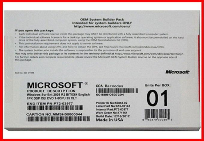 Microsoft Windows server 2008 R2 enterprise oem pack 25 cals activation online 32bit & 64 bit DVD